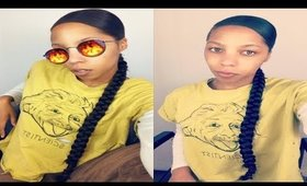 Easy Side Part Long Natural Braid Ponytail | Kanekalon Hair