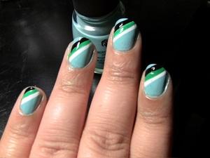 Nails: China Glaze Nail Polish in For Audrey, LA Colors Art Deco Nail Polish in White, Black, and Bright Green
