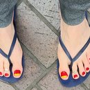 Red And Yellow French Tip / Big Toe