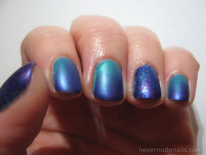 Gradient of East Village (NYC) and Purple Pizzazz Frost (NYC). LA City Nights (Jordana) on thumb and ring fingernails. Mattified with Matte Me Crazy (NYC).