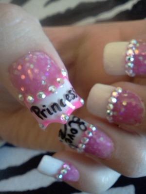 acrylics and crown shaped nail