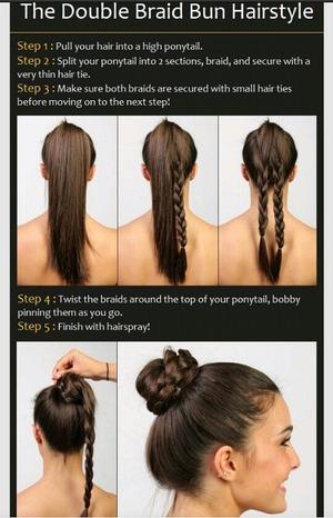 Two braids wrapped into bun