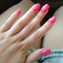Salmon/Hot Pink Acrylic Nails