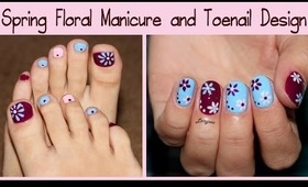 Spring Floral Manicure and Toenail Design