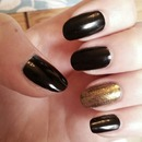 Black with a gold accent