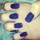Navy Blue Velvet Nails