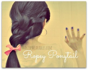 The hair tutorial for this can be found here.  xoxo Tina  http://www.makeupwearables.com/2013/03/how-to-ropey-ponytail-tutorial-video.html#