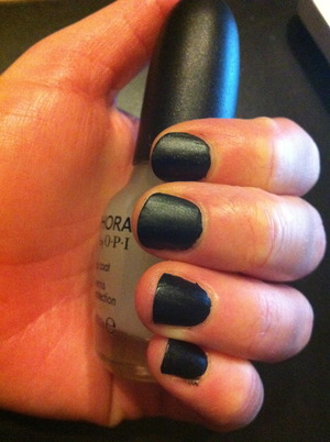 Black nail polish with a matte top coat