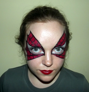 Spiderman/woman masquerade mask. Tutorial here: http://www.youtube.com/watch?v=pLlmV_09E5I