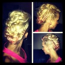 My Blonde and pink Mohawk updo on myself