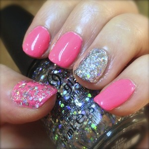 Published on Polishpedia. Neon pink nails for spring with a holographic glitter accent. http://polishpedia.com/techno-anime-glitter-nails.html