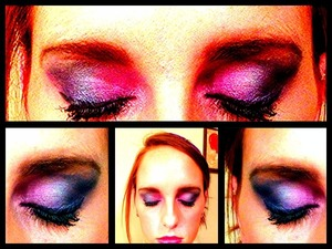 Pinks purples and greens w/ pink lips