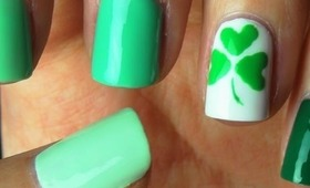 Easy St. Patrick's Day Shamrock Nail Art!!!