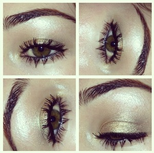 Using urban decay naked palette, mix naked and buck and apply to crease, then sweep half baked onto lid, then with a blending brush mix naked and a little bit of darkhorse into outer crease. Apply black liner only to water line & add plenty of mascara :)