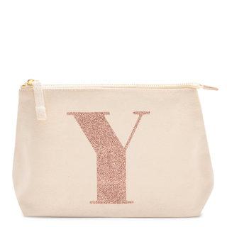 Rose Gold Glitter Initial Makeup Bag Letter Y
