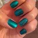 Simple Teal & Silver Nails