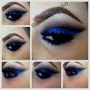 Color tattoo blue eyeshadow cut crease