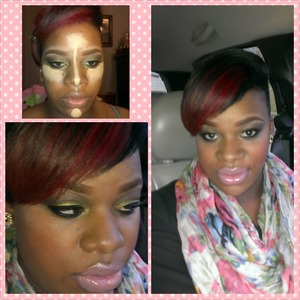 chocolate brown and mustard eyeshadows blended heavy liner natural pink lip and lashes !! my hair has a deep red highlight perfect for the fall !!