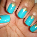 Teal and Gold Chevrons