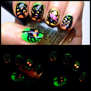 """A Glow in the Dark Spider web Manicure perfect for Halloween!  I got my glow in the dark polishes from Born Pretty Store --> http://bit.ly/ihBHUJ  Use the code """"MIHW10"""" at checkout for 10% off your whole order if you purchase anything from Born Pretty!"""