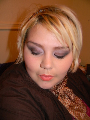 One of my favorite makeup look combos--brown smokey eye with coraly/orangy lips.