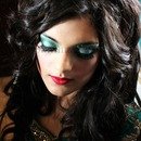 Red Lips, Green Eye Makeup & Elegant curls with Hair extensions