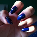 Blue and gold almond natural nails