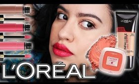 FULL Face Using L'Oreal Makeup    🎅 winter bold lip makeup