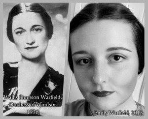 "I've always known that (Bessie) Wallis Simpson Warfield was my distant cousin, but I never saw much of a resemblance until my friend said she can see it. I did up some heavy contour with the NYX Jumbo Eyeshadow Pencil in ""Electric Blue"" and ""Milk"" and dark red lips to create the contrast in black and white. What do you think, do we look related?"