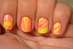 A water marbling manicure done with China Glaze's Sun-Kissed and Surfin' for Boys.