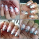 A glittery base with silver tips