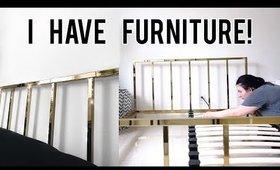 I HAVE FURNITURE! Building IKEA Shelves + CB2 Bed Frame   OliviaMakeupChannel