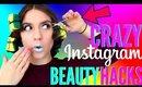 WEIRD Instagram Beauty Hacks TESTED !!! BOOBIEBLENDER + GLITTER LIPS AND MORE!!