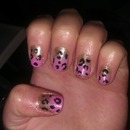 Pink and Gold glittery leopard nails