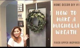 🌿DIY: HOW TO MAKE A MAGNOLIA WREATH for $10! Home Decor Tour & Plant Collection!🌿
