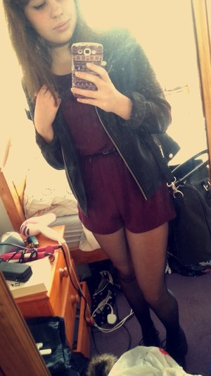 Really loved this outfit. So comfy, will definitely be investing in more jersey playsuits:)  - Playsuit: H&M - Belt: Primark - Tights: Primark - Boots (unshown): Dr Marten 1460 boots - Jacket: Dorothy Perkins - Bag: Primark  - Choker: eBay