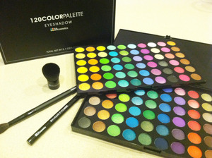 I finally got my package from bhCosmetics!! ill be doing some cute ideas ive had in mind in a day or too. maybe a video?? who knows!!   what you see here is the 120 color palette 2nd edition, Liquid eyeliner (which i got free with an online coupon), a ble