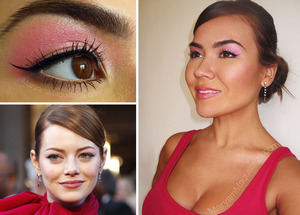 my recreation of Emma Stone's pink on pink makeup. All info is on my blog: http://www.maryammaquillage.com/2012/03/pink-on-pink-la-emma.html