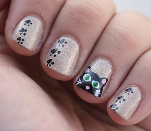 base color: Essence Irreplaceable Kitty and paws painted using acrylic paints.