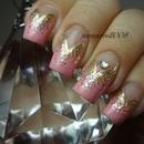 Pink Glittery Nails http://superbeautyguru.com/pink-glitter-tape-manicure/