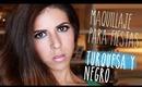 Maquillaje de ojos ahumados para fiestas o noche en negro y turquesa + Smokey eyes tutorial