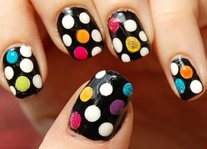 Colorful Polka Party Nails (Polka dots series #5)  Tutorial: http://www.youtube.com/watch?v=QT7t8hGfHyo More pics: http://misstouver.blogspot.com/2011/12/colorful-polka-party-nails-polka-dots.html