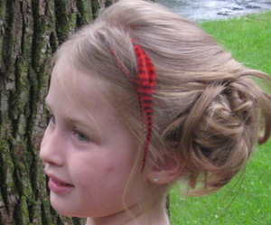 Asymmetrical Side Updo with Red Feather