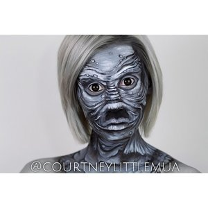 Grayscale face paint inspired by the creature from the black lagoon, tutorial coming soon!