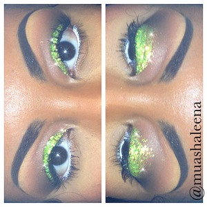 Today I was feeling glittery and sparkly! The lime green glitter is from Sally Beauty Supply and it was only 99cents!! I applied the glitter all over my lid and applied Inglot's black pigment to my corner crease. I applied NYX Milk Jumbo Pencil to my waterline. I used Maybelline The Falsies mascara!