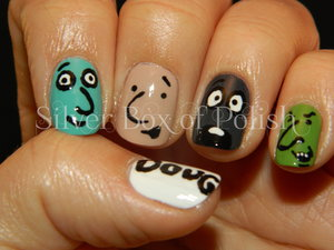 Nail art inspired by the 90s cartoon, Doug.