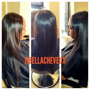 Press and flat iron on extensions