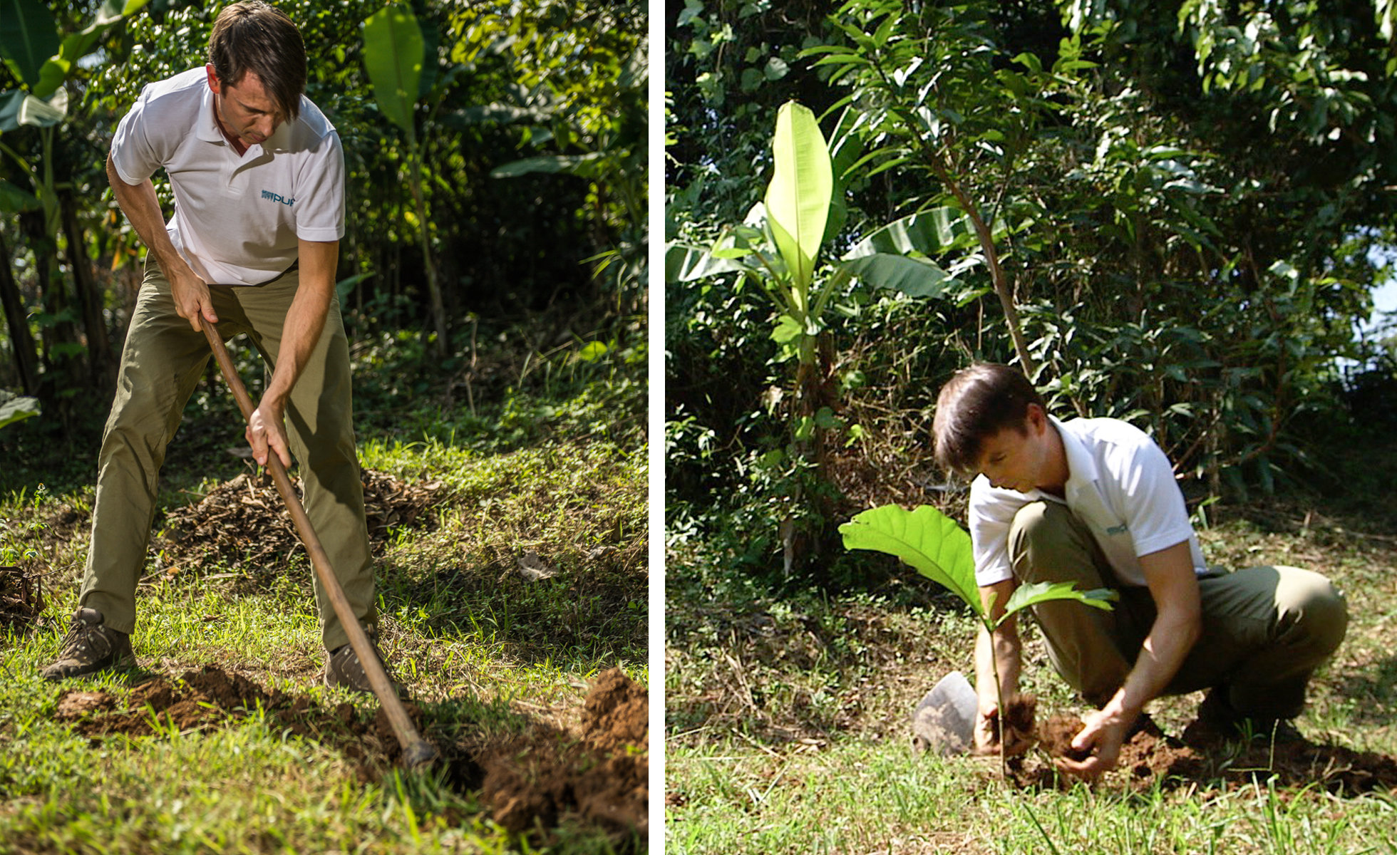 Photo: Caudalie co-founder Bertrand Thomas planting trees with the PUR Project in 2015.