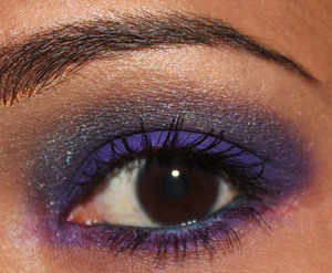 This purple and blue combination was done using Sacha Cosmetics Smokey Purple palette http://www.facebook.com/BellezzaBee