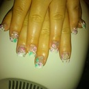 French w/ 3d nail art and rhinestones